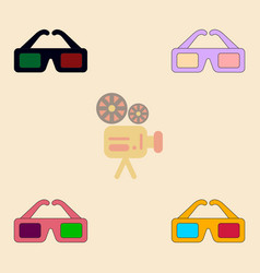 Cinema spectacles collection vector
