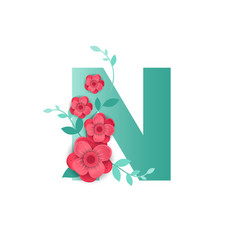 color letter n with beautiful flowers vector image