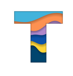 Colorful letter t vector