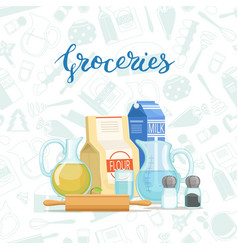 cooking ingridients or groceries pile vector image