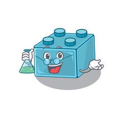 Cool lego brick toys professor cartoon character vector