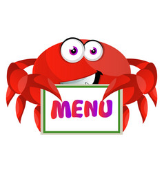 crab with menu sign on white background vector image