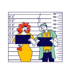 criminal characters mug shot in police station vector image