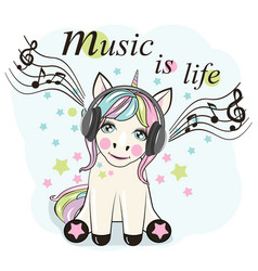 cute cartoon unicorn with headphones vector image