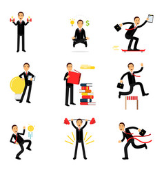 daily routine of successful businessman set vector image