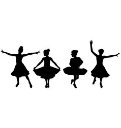 Dancing black silhouettes young girl in ballroom vector