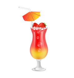 Delicious sweet summer cocktail with strawberries vector