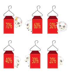 Discount Labels with Sheeps vector image
