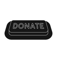 Donate button icon in black style isolated on vector