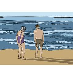 Elderly couple looking at horizon vector