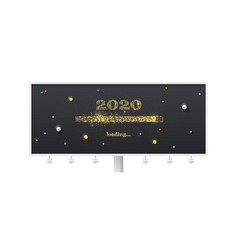 festive billboard with loading bar transition to vector image