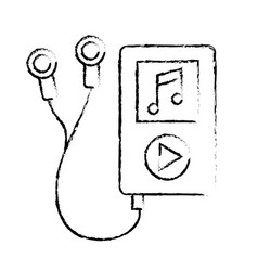 Figure mp3 with headphones to listen and play vector