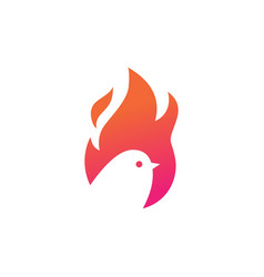 fire bird logo icon negative space vector image