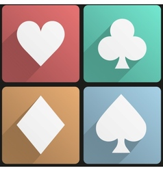Flat icon set playing cards suit vector