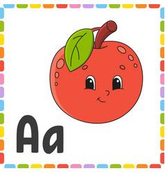 Funny alphabet abc square flash cards cartoon vector