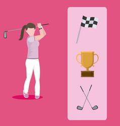 Golf player with accesories vector