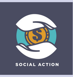 Hand and money social donation and charity fund vector