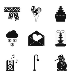 Hard frost icons set simple style vector