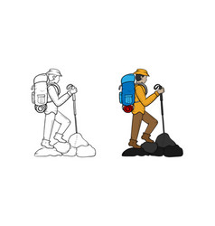 hiking hand drawn sketch and color vector image