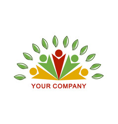 Human and leaf corporate logo vector