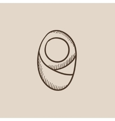 Infant wrapped in swaddling clothes sketch icon vector