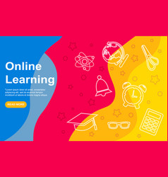 Landing page template online education modern vector