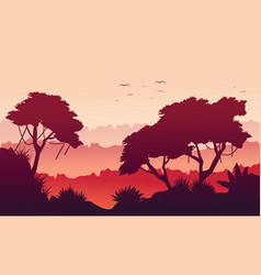 Landscape tree on the jungle silhouette vector
