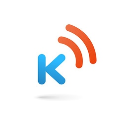 Letter K wireless logo icon design template vector image