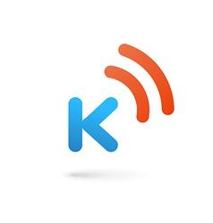 Letter K wireless logo icon design template vector image