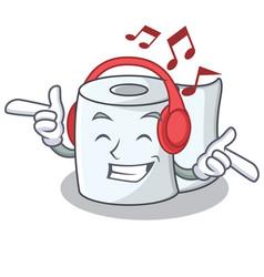 Listening music tissue character cartoon style vector