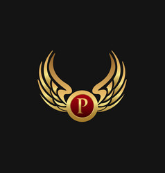 luxury letter p emblem wings logo design concept vector image