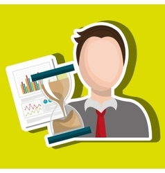 Man with hourglass and statistics isolated icon vector