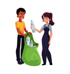 Men collect plastic bottles into garbage bags vector