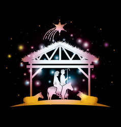 merry christmas card with holy family in mule vector image