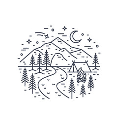 monochrome landscape with tent and campfire in vector image