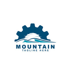 mountain with gear symbol logo design vector image