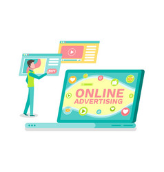 online advertisement laptop with website and user vector image