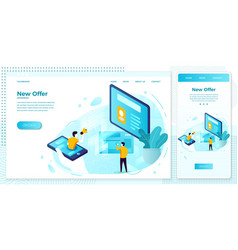 online social network advertisement web set vector image