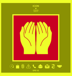 Open hands icon vector