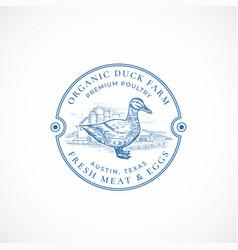 organic duck farm framed retro badge or logo vector image