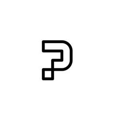 P letter logo initial line art outline monoline vector