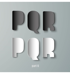 Paper Graphic Alphabet white and black PQR vector