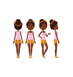 pretty african american girl in various poses set vector image