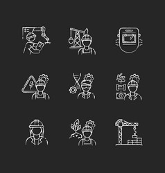 Professional worker chalk white icons set vector