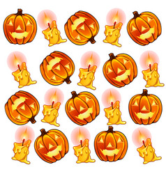 pumpkins lantern and burning candles for halloween vector image