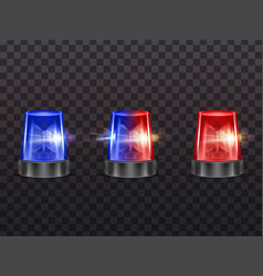 Realistic red blue flashers emergency vector