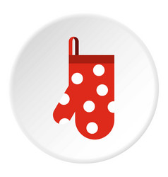 Red potholder with white polka dots icon vector