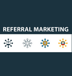 referral marketing icon set four elements in vector image