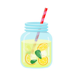 refreshing fruit water in a glass jar vector image