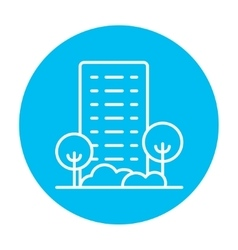 Residential building with trees line icon vector image